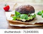 grilled portobello bun mushroom ... | Shutterstock . vector #713430301