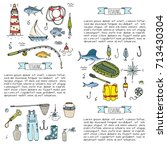 hand drawn doodle fishing icons ... | Shutterstock .eps vector #713430304
