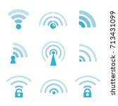 wi fi and wireless icons | Shutterstock .eps vector #713431099