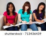 diverse group of teenagers...   Shutterstock . vector #713436439