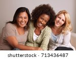 women talking and laughing. | Shutterstock . vector #713436487