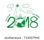 2018 new year in creative... | Shutterstock .eps vector #713437945