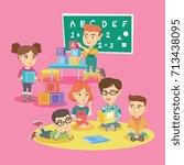 group of little caucasian... | Shutterstock .eps vector #713438095