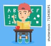 happy caucasian pupil sitting... | Shutterstock .eps vector #713438191