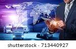 businessman is pressing button... | Shutterstock . vector #713440927