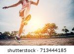 close up of runner are running... | Shutterstock . vector #713444185