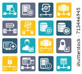 database server icon set vector | Shutterstock .eps vector #713446945