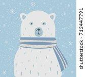 polar white bear with scarf.... | Shutterstock .eps vector #713447791