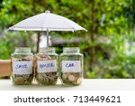 saving money for house and car... | Shutterstock . vector #713449621
