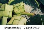 ketupat  rice dumpling  and... | Shutterstock . vector #713453911