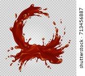 transparent chocolate splash...   Shutterstock .eps vector #713456887