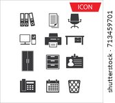 office icon set vector isolated ...