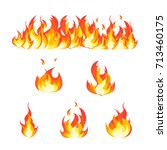 cartoon fire flames set and... | Shutterstock .eps vector #713460175