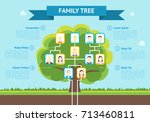 cartoon green family tree with... | Shutterstock .eps vector #713460811