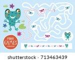 funny maze for children. feed... | Shutterstock .eps vector #713463439