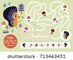 funny maze for children. feed... | Shutterstock .eps vector #713463451