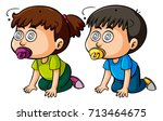 two toddlers with dizzy eyes... | Shutterstock .eps vector #713464675