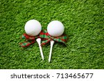 golf with tee on christmas... | Shutterstock . vector #713465677
