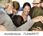 group of people arm around... | Shutterstock . vector #713465977