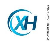 initial letter xh logotype...   Shutterstock .eps vector #713467021