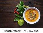 thai food pork in ground peanut ... | Shutterstock . vector #713467555