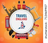 banner travel to england ... | Shutterstock .eps vector #713469907