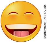 laughing emoji or emoticon...   Shutterstock .eps vector #713477605