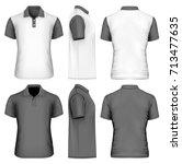 men's polo shirt front  back... | Shutterstock .eps vector #713477635