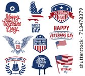 set of happy veterans day... | Shutterstock .eps vector #713478379