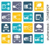 database server icon set vector | Shutterstock .eps vector #713483929