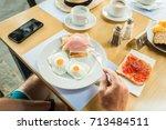 morning breakfast  scrambled... | Shutterstock . vector #713484511