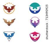 cool eagle hawk falcon logo set   Shutterstock .eps vector #713490925