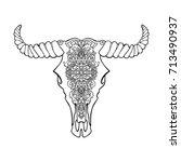 mandala tattoo style dead cow... | Shutterstock .eps vector #713490937