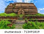 ruined mingun pagoda unfinished ... | Shutterstock . vector #713491819