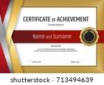 luxury certificate template... | Shutterstock .eps vector #713494639