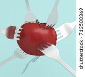 creative concept   red tomato...   Shutterstock . vector #713500369