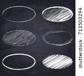 chalk drawn ellipse. geometric...   Shutterstock .eps vector #713503294