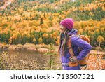 fall autumn hiker girl outdoor... | Shutterstock . vector #713507521