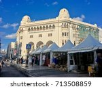 Small photo of ALGIERS, ALGERIA - SEP 10, 2017: La Grande Poste Algiers is a building of neoMoorish style Arabisance built in Algiers in 1910 by Henri-Louis said Jules Voinot architects and Marius Toudoire1 Algiers