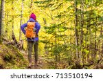 autumn hike backpacker... | Shutterstock . vector #713510194
