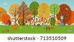 vector autumn woodland... | Shutterstock .eps vector #713510509