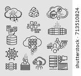 big data vector line icons  | Shutterstock .eps vector #713510824