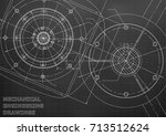 mechanical engineering drawings.... | Shutterstock .eps vector #713512624