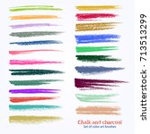 a set of vector brushstrokes.... | Shutterstock .eps vector #713513299