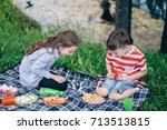 portrait of three children... | Shutterstock . vector #713513815