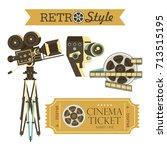 vintage movie cameras  cinema... | Shutterstock .eps vector #713515195