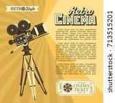 vintage film camera. poster in... | Shutterstock .eps vector #713515201