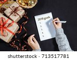 festive decorations and a... | Shutterstock . vector #713517781