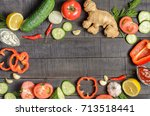 fresh vegetables on a dark... | Shutterstock . vector #713518441