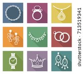 set of jewelry isolated icons.... | Shutterstock .eps vector #713519341